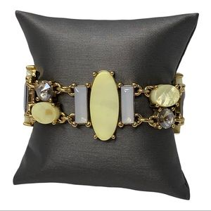 CHICOS Beaded Magnetic Clasp Bracelet Yellow Gold